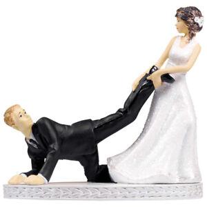 WEDDING CAKE TOPPER Bride and Groom Flowers Funny Leg Puller runaway black white
