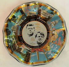 Vintage 70s Houze Art Glass JFK RFK Kennedy Commemorative Candy Dish, Wavy Edges