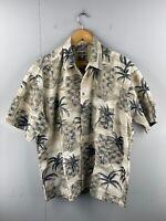 Campia Moda Men's Vintage Short Sleeve Hawaiian Shirt Size XL Brown Floral Palm