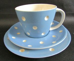 TG GREEN CORNISHWARE BLUE DOMINO PATTERN LARGE TEA CUP, SAUCER & PLATE