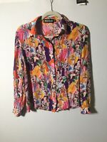 house of holland Womens Gorgeous Silk Lady Print Button Shirt Blouse Size 8 RARE