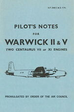 VICKERS WELLINGTON & WARWICK - TWO MEDIUM RAF BOMBERS - PILOT'S NOTES