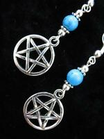 Pentacle Turquoise EARRINGS Pentagram Pierced Pagan Wicca Magic Goth  Silver