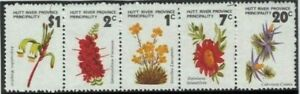 Stamps Australia 1973 Hutt River Province strip of 5 flowers Cinderella issues