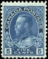Mint H Canada 5c 1914 F-VF Scott #111 King George V Admiral Issue Stamp