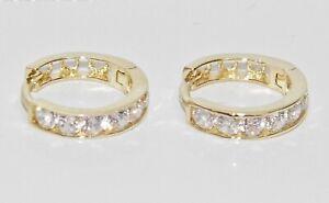 9ct Gold Diamond Huggie Hoop Earrings - Solid 9K Gold