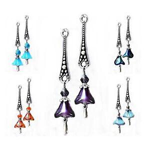 Earrings, Czech glass flower long drop choose color and clip on or pierced