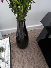 Tall Ceramic Black Glossy Vase . Preowned