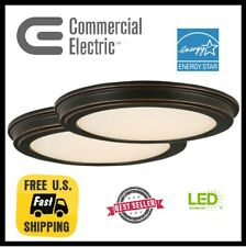 13 in. Oil Rubbed Bronze LED Ceiling Flush Mount with White Acrylic Shade (2pk)