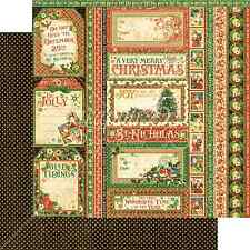 Graphic45 SEASON'S GREETINGS 12x12 Dbl-Sided Scrapbooking (2pcs) Paper CHRISTMAS