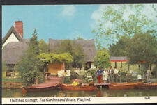 Suffolk Postcard - Thatched Cottage, Tea Gardens and Boats, Flatford   RS4349
