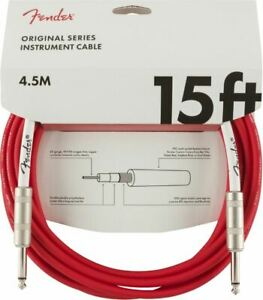 FENDER GUITAR LEAD CABLE ORIGINAL SERIES 15FT / 4.5M - FIESTA RED - GIFT IDEA -