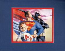 SUPER ALFRED E NEUMAN SUPERMAN BATMAN PRINT PROFESSIONALLY MATTED Ross art MAD