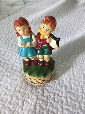 Vintage Ceramic Rotating Music Box Children Singing Plays Lara'S Theme So Nice!