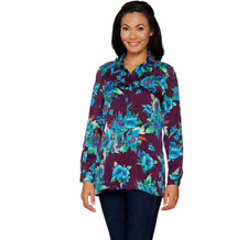 Linea Louis Dell'Olio Size Medium Floral Printed Blouse Blackberry Button Up
