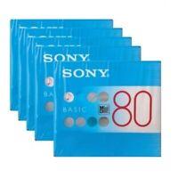 5 pcs Sony MD Basic Blank Minidisc 80 Min. Recordable MDW80BC