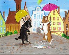 5x7 Print Of Painting Ryta Scottish Terrier Pemboke Welsh Corgi House Folk Dog