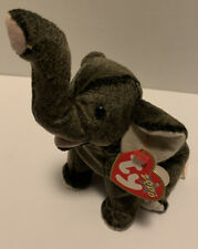 New 2000 Ty Beanie Babies Plush Shimmery Charcoal Gray Trumpet The Baby Elephant