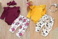 Toddler Baby Girls Long Sleeves Solid Romper Tops+Floral Pants+Headbands Set