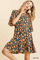 Umgee Floral Print Bell Sleeve Ruffle Hem Dress Size S M L