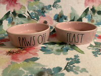 "RAE DUNN ""Feast"" &  ""Paws Off"" Pink Ceramic Cat Dog Bowl Pet Food Dish - NEW"