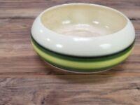 "Vintage 8"" round green beige striped Flower Planter plate by Roseville Ceramics"