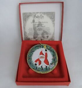 P Buckley Moss Kringle Bells Santa 2001 Holiday Christmas Ornament Low Number