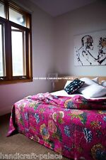 Twin Kantha Quilt Pink Floral Bedspread Indian Reversible Blanket Bedding Throw