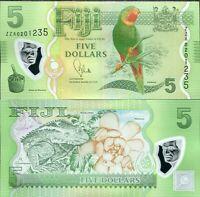 Fiji 5 Dollars 2012/2013 P 115 ZZA Replacement Polymer UNC