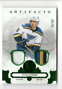 ROBBY FABBRI NHL 2017-18 ARTIFACTS MATERIALS EMERALD #/65 (BLUES,RED WINGS)