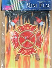 New Mini Fire Department Flag Garden Flag 12 x 18 Maltese Cross, Fire helmet
