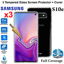 Samsung Galaxy S10e Clear Case Cover & x3 Tempered Glass Front Screen Protector