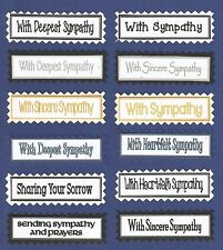 12 With Sympathy Greeting Card Making Craft Sentiment Message Banners Tags