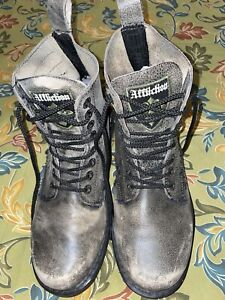 Affliction Combat Gray  Distressed Leather Lace Up Boots. Size 10. EUC