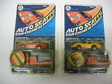 VINTAGE 1980 2 AUTO SCATTO CON CHIAVE BURNIN' KEY CAR CORVETTE CAR KIDCO MIB