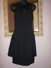 FRENCH CONNECTION size12 Black Racer Back Unusual Peplum Dress EU40 vgc ✴