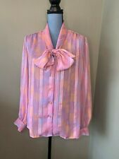 Adolph Schuman for Lilli Ann Pastel Blouse Button Top Vintage 80's Pussybow Med