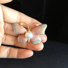 Amazing freshwater pearl butterfly Crystal  Brooch Women Jewelry (pink purple)