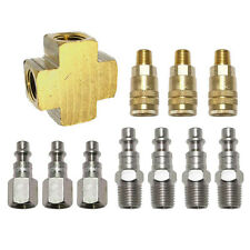 3 WAY BRASS AIR HOSE CONNECTOR MANIFOLD SPLITTER COUPLER ADAPTER WITH 6 FITTINGS