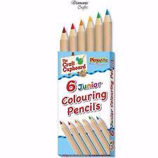 6 x Matite Colorate Mezza grandezza ASSORTITI-Art Craft Kids Borsa Festa della Scuola favore