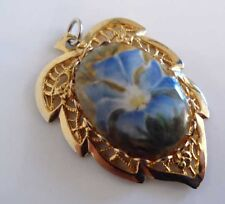 Enamel Decorated Costume Pendant Gold Tone and Floral