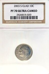 2003-S CLAD ROOSEVELT DIME GRADED PF 70 ULTRA CAMEO BY NGC