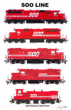 "Soo Line Red Locomotives 11""x17"" Railroad Poster Andy Fletcher signed"