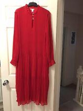 H&M Ladies Pleated Chiffon Dress, Size 46 (18uk), Red, Bnwot