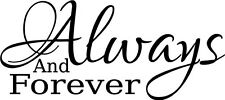 Always and Forever Cute Decor vinyl wall decal quote sticker Inspiration