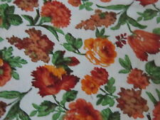 Shabby vintage orange browns roses & tulips springs flowers fabric material chic