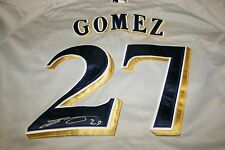 CARLOS GOMEZ AUTOGRAPHED AUTO SIGNED MILWAUKEE BREWERS JERSEY GREY #27 COA