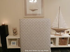 FUN BEDHEADS Single Size Grey and White Chevron Stripe Upholstered Bedhead