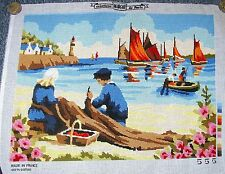Needlepoint Cross Stitch Vintage Seascape Ocean Fishing Boating Lighthouse