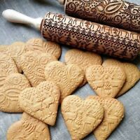 Christmas Baking Cookies Cake Wooden Embossing Rolling Pin Xmas Tree Roller /ma